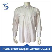 China Cotton Twill White Long Sleeve Security Guard Shirts Traditional Style Printed Logo on sale