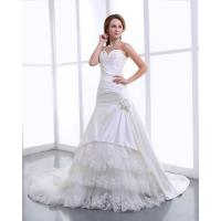 Quality Elegant Satin halter womens Wedding Dresses with cathedral train , Flower Lace Skirt for sale