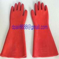 Quality Natural Rubber Industrial Insulating Gloves for sale