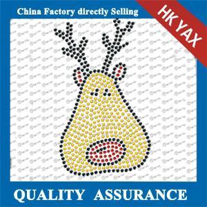 Quality fast delivery christmas rhinestone transfer ;lastest design hot fix motif;christmas  rhinestone iron on transfer for sale