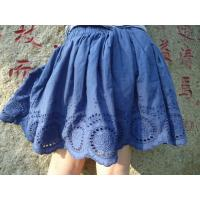 Blue Embroidery Cotton Little Girls Denim Skirt , Eyelet Girls Summer Skirts