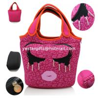 Quality Durable Cute Neoprene Shopping Bag Foldable With Embroidery Pattern For Kids for sale