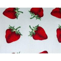Red Strawberry Printed Cotton Canvas / Anti Dirt Baby Cotton Fabric