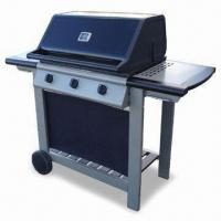 Quality Quality Wooden Trolley Gas BBQ grill with Flame Tamers and Temperature Gauge for sale