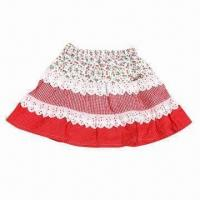 Quality Girls' Floral Skirt/Kids' Tiered Cotton Dress, A Shape, Lace Trim, Cotton Fabric, Customizable for sale