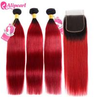 Quality Virgin Human Ombre Hair Bundles With Closure 1B/Red Color Silky Straight for sale