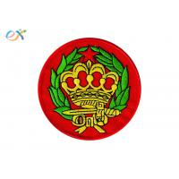 China Round Iron On Patches , Custom Embroidered Badge Patches Pantone Color on sale