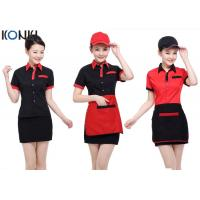 Red And Black Color Restaurant Shirts Uniforms For Waitresses