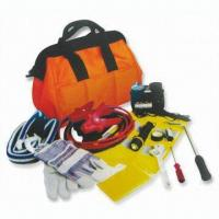 Quality Car Emergency Kit with Fiber Bag, Cable Booster, Flashlight, Cotton Gloves, Safety Hammer and Wrench for sale