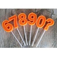 Quality Orange Mini Number Birthday Candles Zero To Night With 3D Edge And Plastic Holder for sale
