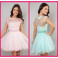 Quality Lace Scoop Short Long Homecoming Dresses Pink Appliques Evening Party Gowns for sale