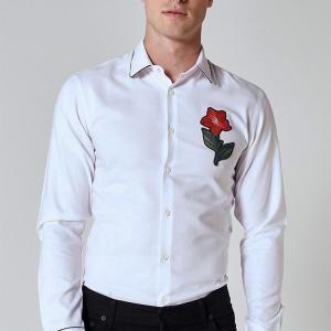 China Custom Embroidery Mens Fashion Casual Shirts , White Long Sleeve Collar Shirt on sale