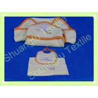 China 100% Bamboo Fiber Pure Color Hooded Cat Embroidery Double Side Terry Baby Blanket Towel Bib Set on sale