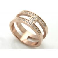 China Stainless Steel Ring Classic H Letter Wedding Ring Gold Color Mosaic Aaa Cz Zircon Crystal Brand Jewelry on sale