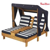 Wooden Outdoor Double Chaise Lounge , Backyard Lounge Chairs Weather Resistant