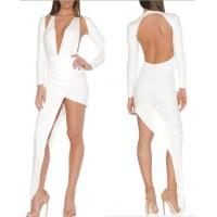 Quality Sexy White Backless Bandage Dress Long Sleeve Club Europen Style for sale