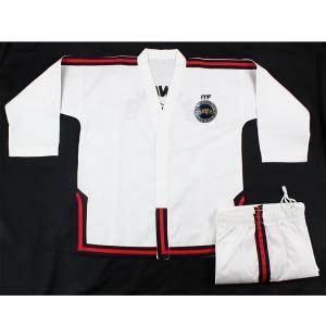 China Hot sale Custom white collar ITF master Taekwondo uniform striped ITF TKD uniform Taekwondo Gi for master 4-6 dan on sale