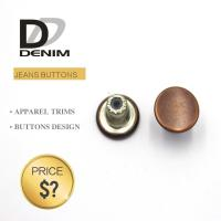 Quality Decorative Metal Denim Brass Button With Customized Engraved Logo for sale