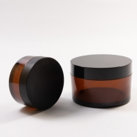 China New Amber PET Thick Single Wall PET Plastic Jars with Lid Cap For Mask Cream Skin Care on sale