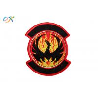 China Twill Background Embroidered Fabric Patches , Motorcycle Leather Vest Patches on sale
