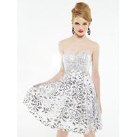 Quality White Silver Empire Waist Short Evening Party Dress Mini with Lace for sale
