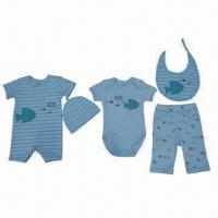Quality Babies' Clothing Set, Bodysuits, Pants, Beanies, Scarfs and Rompers, Bibs, Total 5-piece Set for sale