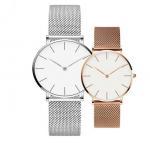 Quality couple quartz stainless steel mesh bracelet minimalist watches for sale