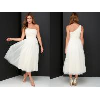 Quality Latest Dress Design Glamour Girl Cream Beaded One Shoulder Prom Formal Dress for sale