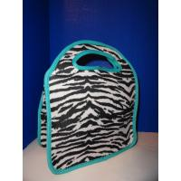 Quality Zebra-stripe Travel Neoprene Lunch Tote With Aqua Gusseted Sides , Lady Use for sale