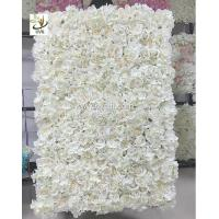 China UVG 5ft white artificial flower wall with silk hydrangea and rose for wedding decoration on sale