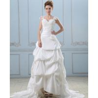 Quality Summer capped sleeve heart shaped layered wedding dresses with sweep train , White for sale