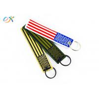 Quality Polyester Custom Embroidered Keychain Rectangle Shape With Merrow Border for sale