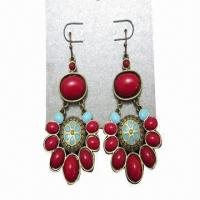 Quality Drop Earrings, Made of Metal and Resin for sale