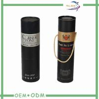 Custom Round Black  Wine Tube Gift Box Paper Packing Foil Stamp