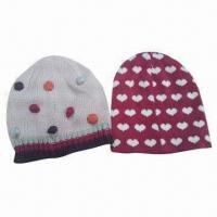 Quality 100% Acrylic Knitted Children's Hats, Customized Colors and Sizes are Accepted for sale