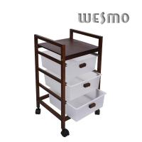 Quality Natural Color 3 Layers Wood Bathroom Shelf with 3 Plastic Drawers and Wheels for sale
