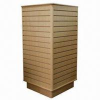 Quality Wood Slatwall Tower Rack with Aluminum Insert for sale