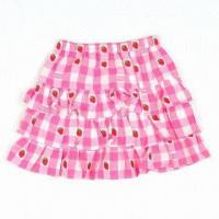 Quality Girls' Skirt in Short/Kids' Tiered Mini Skirt, Full Printed, Cotton Fabric, OEM/ODM Acceptable for sale
