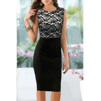 China Pinup Elegant Floral Lace Tunic Dress Knee-Length Colorblock Shift Bodycon Casual Pencil on sale