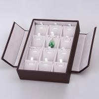 China Wide Slot Ring Display Box , Black Foldable Jewelry Display Case With Lids on sale