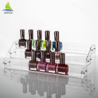 Quality Commercial Clear Thickness Ladder Shape Nail Polish Display Stand OEM Service for sale