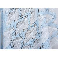 Quality Dubai Stretch Water Soluble Embroidered Sequin Lace Fabric Blue And White Color for sale