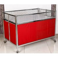 Foldable Moving Supermarket Promotion Table / Durable Metal Shelf Cart With Castors