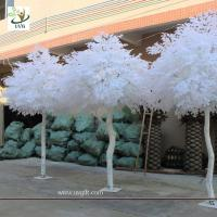 China UVG GRE011 10ft white artificial christmas tree with wood fake banyan trees for party decoration on sale
