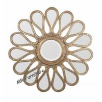 Quality Mosaic Shell Mirrored Metal Wall Art , Decorative Round Mirror Wall Art for sale