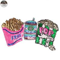 Buy French Fries Large Sequin Patches , Popcorn Sequin Sew On Patches Customized Color at wholesale prices