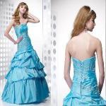 Quality Blue Strapless Ruffled and Beaded Taffeta a-Line Lady Dress (AL20045) for sale