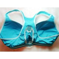 Quality Anti - Bacterial Nylon / Cotton Light Blue Padded Front Closure Sports Bra 38A for sale