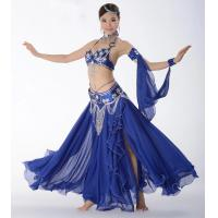 Quality Belly dance bra and belt , belly dancing dresses satin and chiffon fabric  material for sale