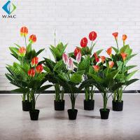 Customized Faux Potted Plants , 1m Height Potted Artificial Calla Lily for sale